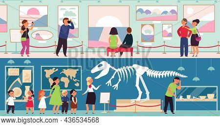 People In Museum. Cultural Kids, Art Gallery. Adults And Children Looking Dinosaur Skeleton, Abstrac