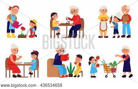 Children With Grandparents. Cartoon Grandparent Spend Time With Grandchildren. Cute Grandson And Gra