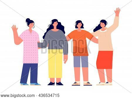Girls Friendship. Casual Female Teens Characters Together. Friends Hugs, Cute Flat Women Group Vecto