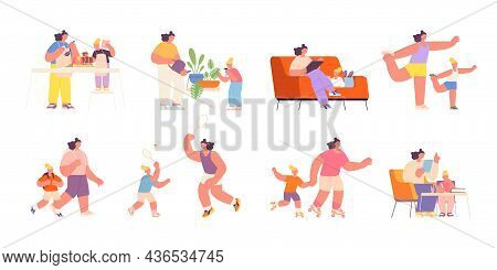 Motherhood. Baby Mother, Parent Cook With Daughter. Happy Woman Play With Child, Family Doing Sport,