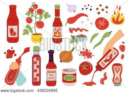 Sauce. Different Pepper And Tomato Sauces, Red Bottles. Hands Squeeze Out Topping For Food, Onion An