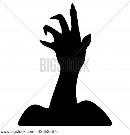 Spooky Clawed Paw. Silhouette. The Dead Man's Hand Is Pulled Out Of The Ground. Gnarled Fingers With
