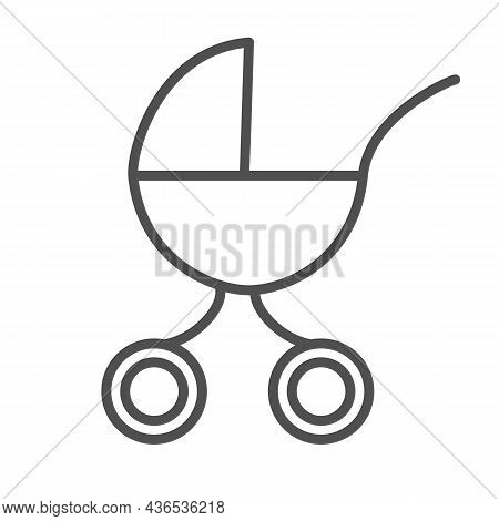 Baby Carriage In Linear Style With Editable Stroke Isolated On White Background. Birth And Motherhoo