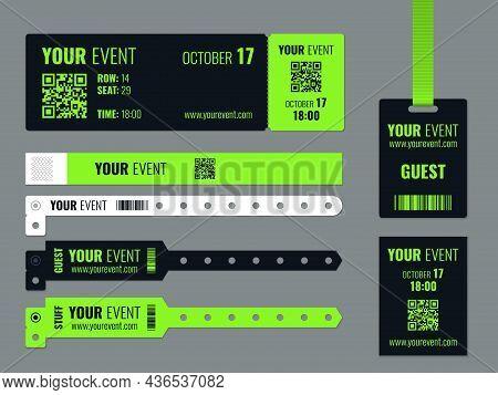 Event Access Control. Realistic Wrist Tags Mockup, Corporate Entry Tickets Templates, Festivals, Par
