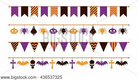 Halloween Garland. Colorful Flat Flags Different Forms, Paper Pumpkin And Spider, Ghost And Skull Ha