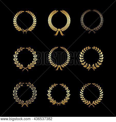Laurels Gold Wreaths. Golden Branches With Leaf Silhouette In Circle Form, Foliate And Wheat, Oak An