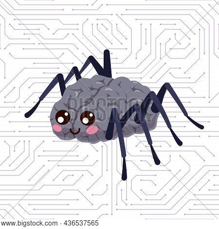 Spider Brain. Mind Organ With Insect Paws And Smiling Face. Hacker Mascot And Cyber Net. Bug Crawls