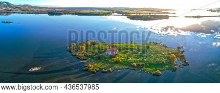 Extra Wide Aerial Panorama Of Church Of St. Linhart In South Moravia On The Island In Stunning Eveni
