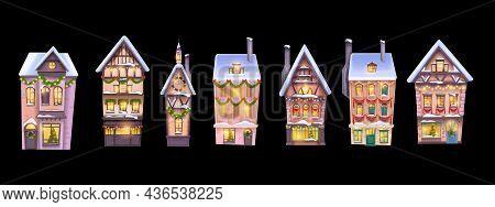 Winter Christmas House Icon Set, Vector Holiday X-mas Snow Town Building Isolated Facade. European V