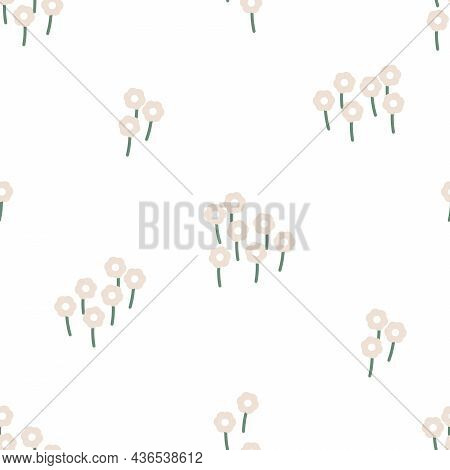 Vector Cute Folklore Daisies Meadow On White Seamless Pattern Background Design. Perfect For Scrapbo