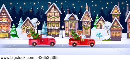 Christmas Winter House Landscape, Vector X-mas Holiday Snow Town Seamless Background, Red Truck, Roa