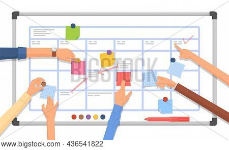 Work Planning Board. Arm With Marker, Business Project Collaboration Plan. Time Management, Office S