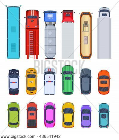 Top View Public Transport. Truck, Cars Isolated Icons. Police And Taxi, Fire And Ambulance Vehicle.