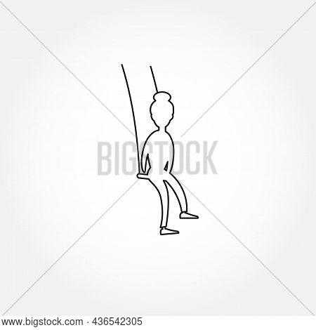 Woman Riding On A Swing Line Icon. Swing Isolated Line Icon