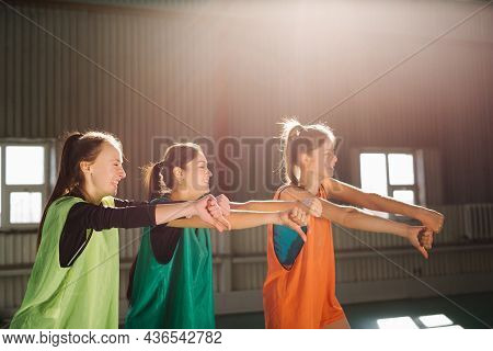 People, Sporty Friendship Women, Football Fans, Indoor Gym, Cheer Up Support Favorite Team With Socc
