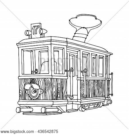 Soviet Wooden Old Tram Of The 40s With One Headlight, Museum Exhibit, Vector Illustration With Conto