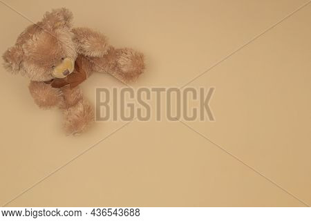Brown Teddy Bear Sitting On Pastel Color Background. Top View, Copy Space For Text