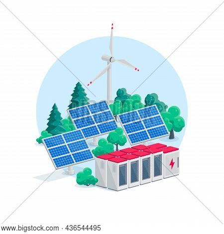Renewable Energy Electric Power Station Smart Network System. Isolated Vector Illustration Of Photov