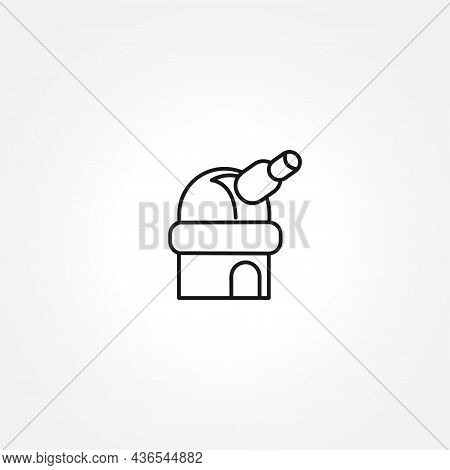 Observatory Telescope Line Icon On White Background