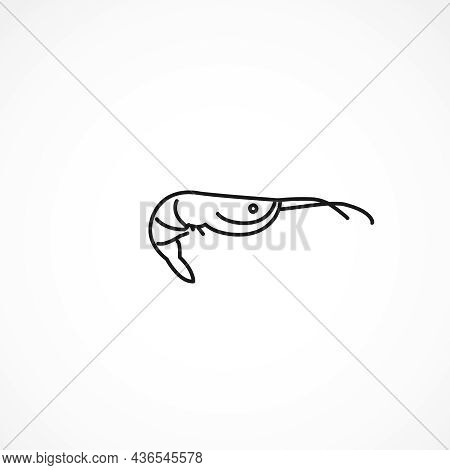 Shrimp Icon. Fish And Sea Products Vector Icon On White Background