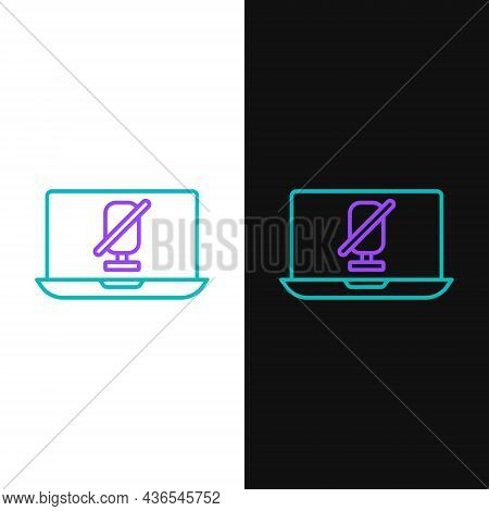 Line Mute Microphone On Laptop Icon Isolated On White And Black Background. Microphone Audio Muted.