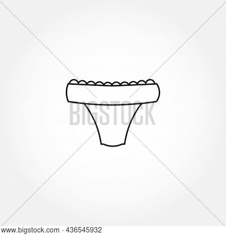 Underpants Line Icon. Woman Underpants With Lace Isolated Line Icon