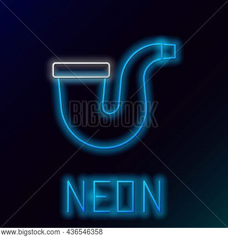 Glowing Neon Line Smoking Pipe With Smoke Icon Isolated On Black Background. Tobacco Pipe. Colorful