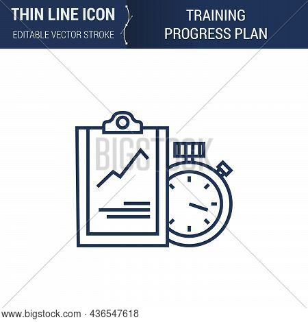 Symbol Of Training Progress Plan Thin Line Icon Of Sport And Fitness. Stroke Pictogram Graphic Suita