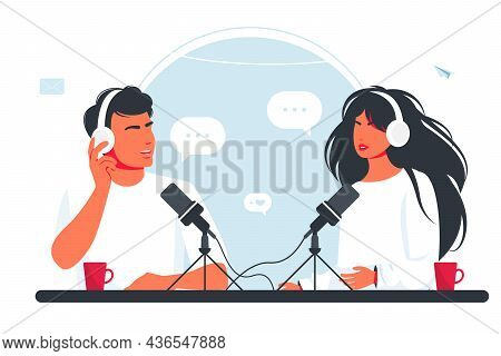 Man And Woman Are Recording A Podcast. Boy, Girl In Headphones Talking Into A Microphone. Radio Dj I
