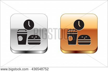 Black Fast Food Time Icon Isolated On White Background. Silver-gold Square Button. Vector