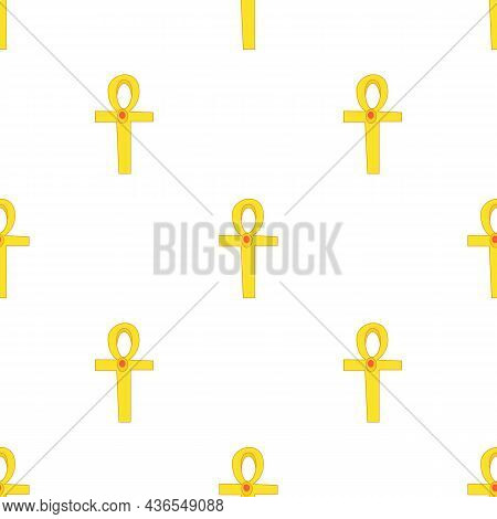 Egyptian Ankh Pattern Seamless Background Texture Repeat Wallpaper Geometric Vector