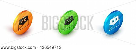 Isometric Advertising Icon Isolated On White Background. Concept Of Marketing And Promotion Process.