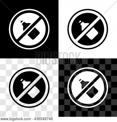 Set No Alcohol Icon Isolated On Black And White, Transparent Background. Prohibiting Alcohol Beverag