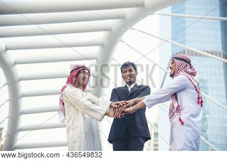 Happy Diverse Multiethnic Partners Hands Together. Teamwork Group Of Multi Racial Smile People Meeti