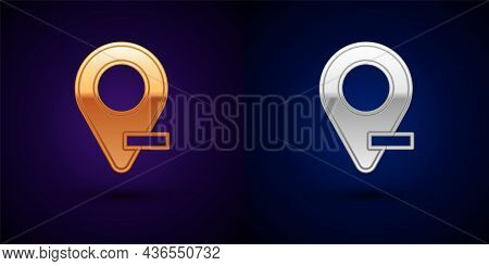 Gold And Silver Map Pin Icon Isolated On Black Background. Navigation, Pointer, Location, Map, Gps,