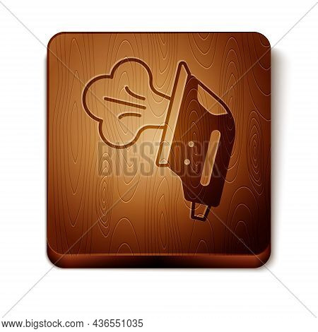 Brown Electric Iron Icon Isolated On White Background. Steam Iron. Wooden Square Button. Vector