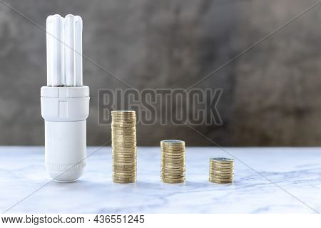 Coins And Bulb Of Increasing Shape On Table. Concept Of Increasing Electric Energy. Concept To Chang