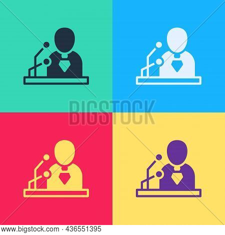 Pop Art Breaking News Icon Isolated On Color Background. News On Television. News Anchor Broadcastin