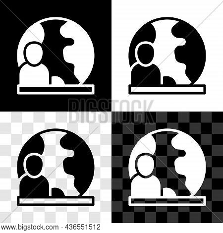 Set World News Icon Isolated On Black And White, Transparent Background. Breaking News, World News T