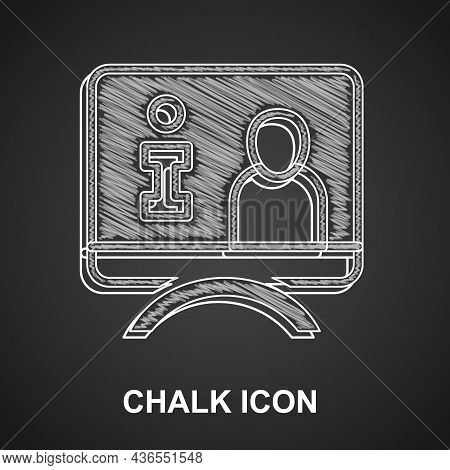 Chalk Television Report Icon Isolated On Black Background. Tv News. Vector