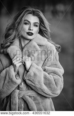 Apparel For European Winter. Elegant Woman Wear Fur Coat. Stylish Lady Wear Faux Fur. Versatile Text