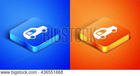 Isometric Electric Car And Electrical Cable Plug Charging Icon Isolated On Blue And Orange Backgroun