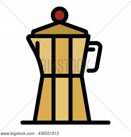 Steam Coffee Maker Icon. Outline Steam Coffee Maker Vector Icon Color Flat Isolated