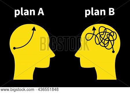 Plan A Plan B Business Concept. Silhouette Head Thoughts Ideas Strategy Choice Plan. Vector Illustra