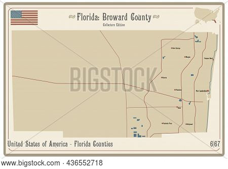 Map On An Old Playing Card Of Broward County In Florida, Usa.