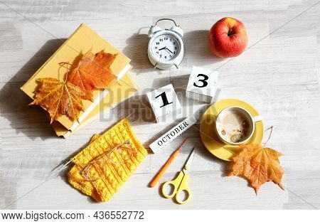 Calendar For October 13 : The Name Of The Month In English, Cubes With The Number 13, Books, An Alar
