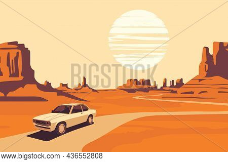 Hot Summer Landscape With Deserted Valley, Mountains, Winding Road And Single Passing Car. Western S