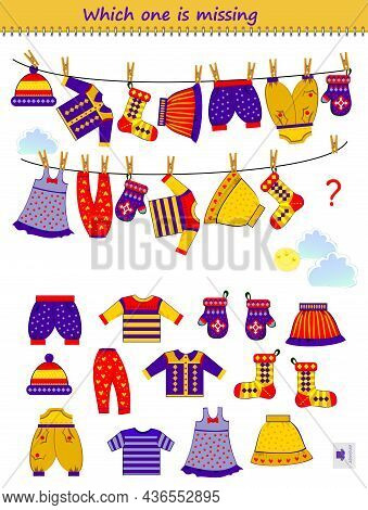 Logic Puzzle Game For Children And Adults. Which One Of The Clothes Is Missing? Find The Lost Dress.