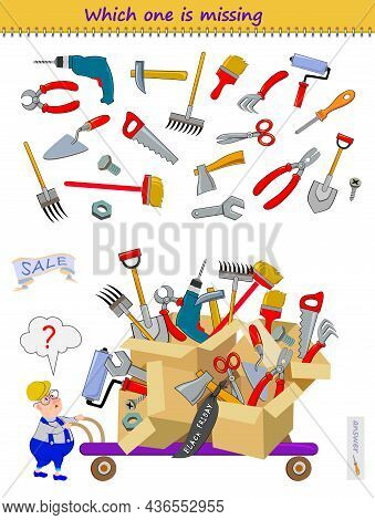 Logic Puzzle Game For Children And Adults. Find The Tool Which The Worker Forgot To Buy. Which One I