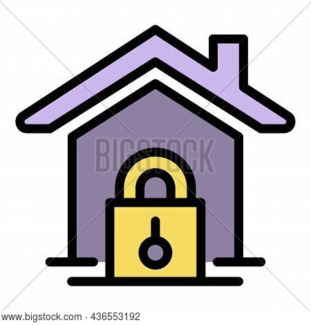 House And Padlock Icon. Outline House And Padlock Vector Icon Color Flat Isolated